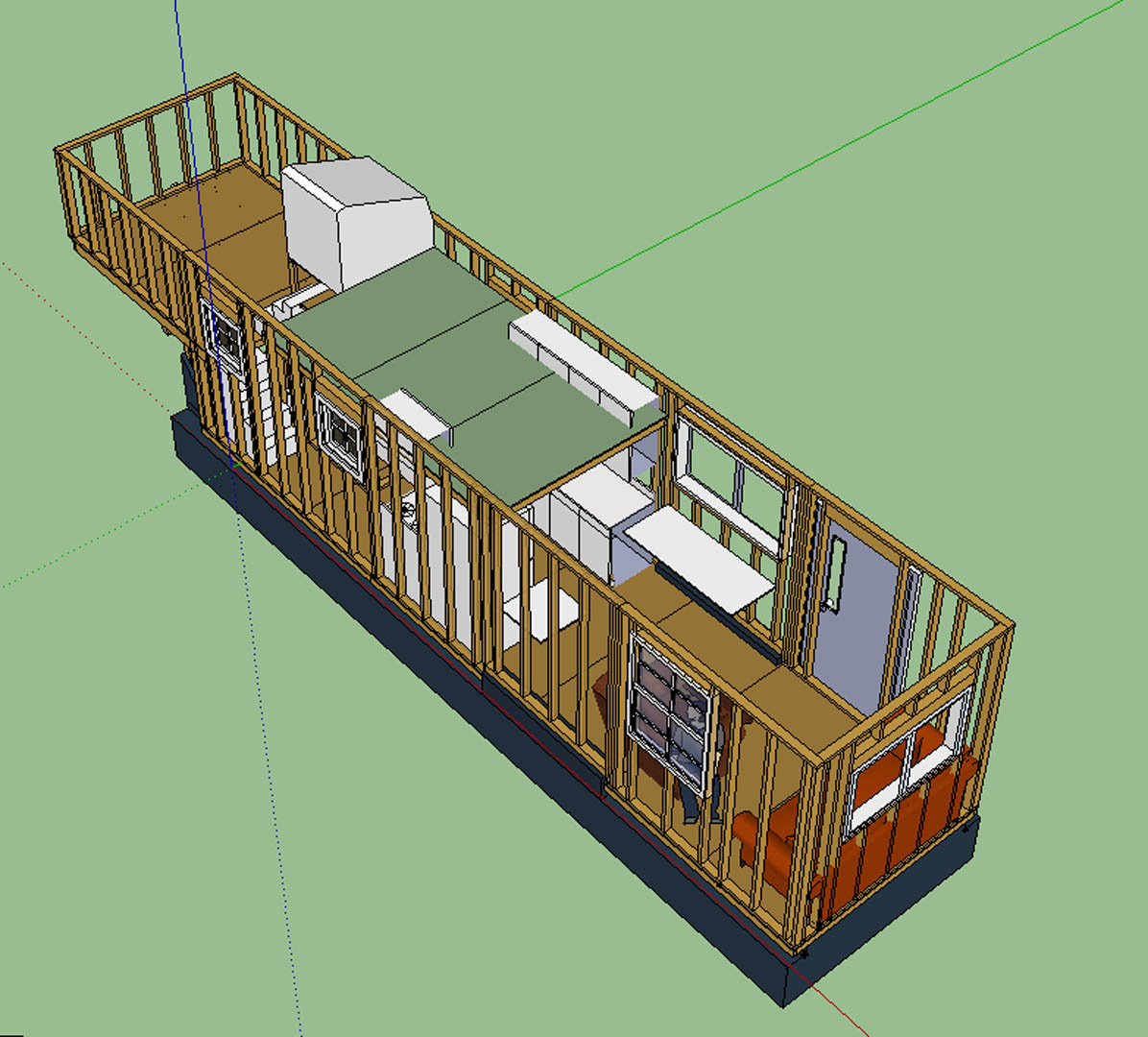 Tiny House Layout Walls Up Loft Showing