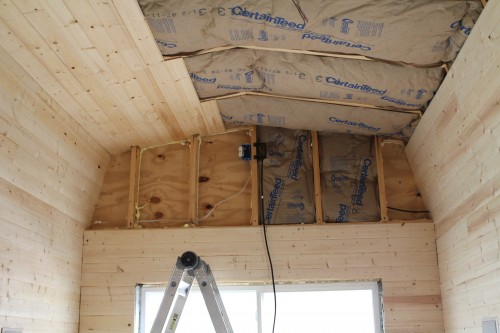 Tiny House Back Wall Insulation and Pine Board